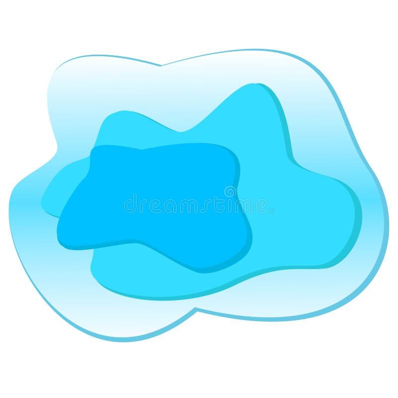 Gelaagde blauwe vloeibare vlekken Abstracte vlek als malplaatje voor embleemachtergrond de lichte vlek van hemelaqua voor modern  royalty-vrije illustratie