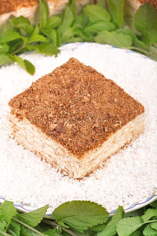 Gelaagde cake met de vanilleplak van roomnapoleon millefeuille met munt stock fotografie