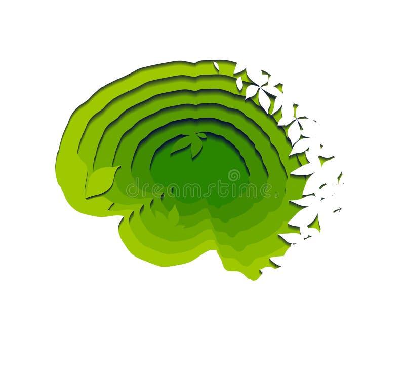 Gelaagde eco menselijke hersenen die van document met bladeren op witte achtergrond worden verwijderd Document besnoeiingsorigami royalty-vrije illustratie