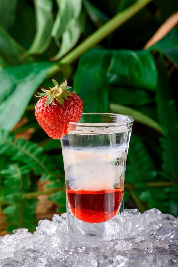 Gelaagde geschotene die cocktail met aardbei op ijs wordt verfraaid Geïsoleerdc op groene achtergrond stock foto
