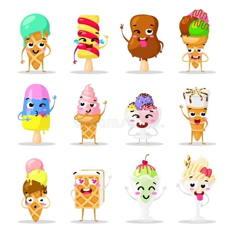 Gelado bonito da emoção dos doces da coleção, ícones da garatuja Doce bonito O grupo de engraçado desnata Projeto liso ilustração do vetor