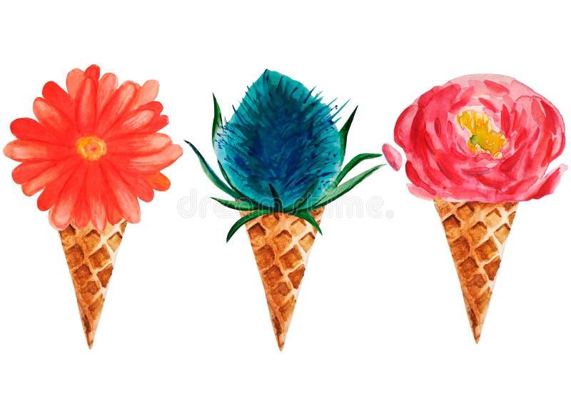 Gelado da aquarela de 3 flores ilustração do vetor