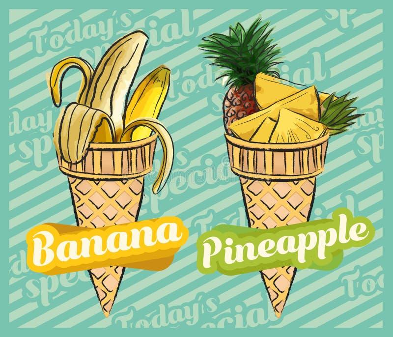 Gelado da banana Gelado do abacaxi Ilustra??o do cone de gelado do fruto, projeto desenhado ? m?o do vetor ilustração royalty free