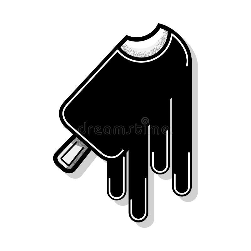 Gelado de derretimento de chocolate isolado no fundo branco Ícone liso do esboço do vetor no estilo dos desenhos animados ilustração stock