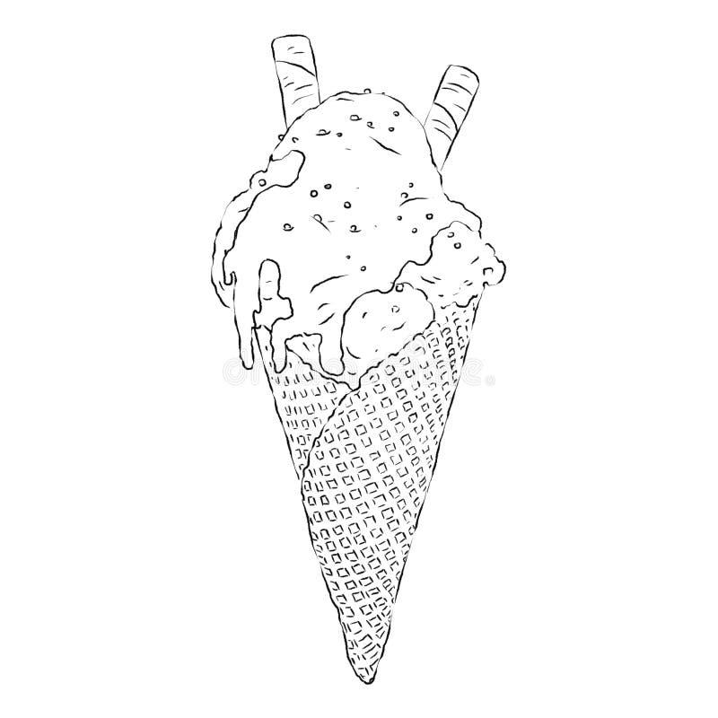 Gelado delicioso no cone do waffle no esboço Gelado com molho e as varas friáveis do waffle Um deleite favorito das horas de verã ilustração do vetor