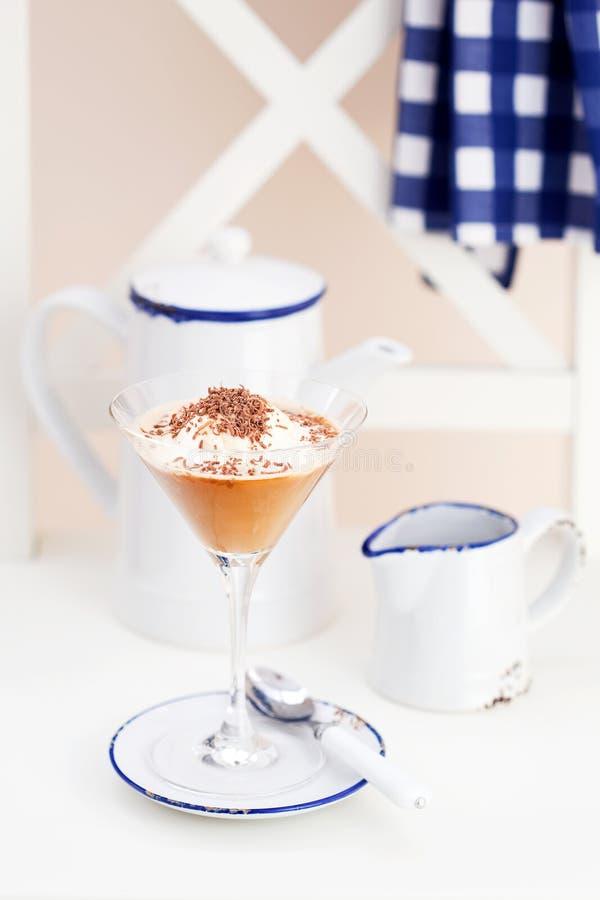 Gelado do café e chocolate (Affogato) fotografia de stock