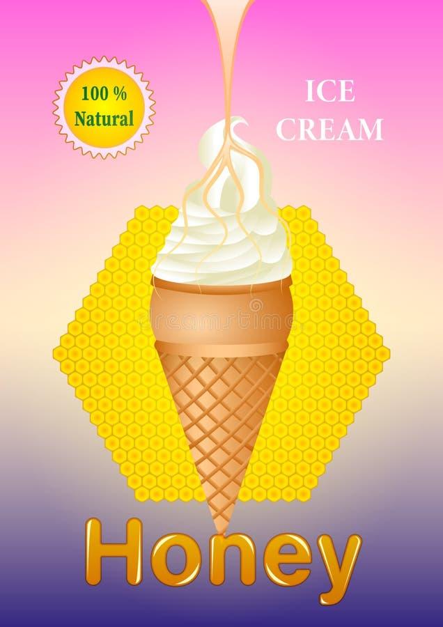 Gelado do mel no copo do waffle ilustração stock