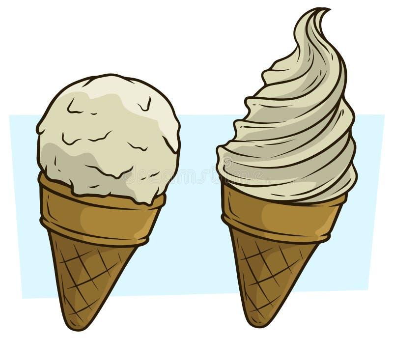 Gelado dos desenhos animados no grupo do ícone do vetor do cone do waffle ilustração stock