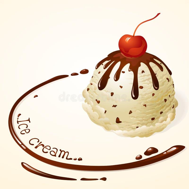 Gelado dos pedaços de chocolate da baunilha com molho de chocolate ilustração do vetor