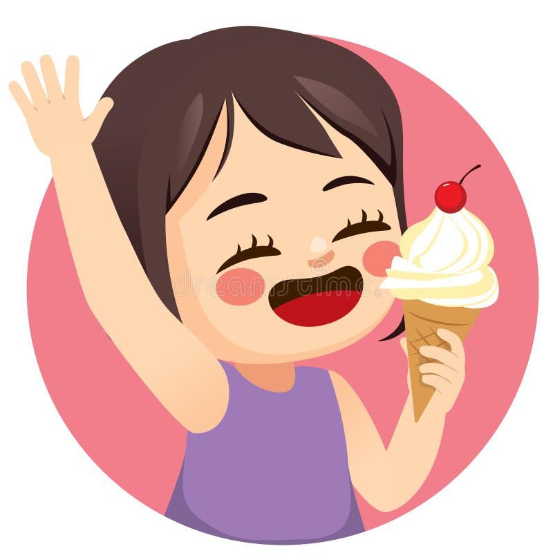 Gelado feliz da menina ilustração do vetor