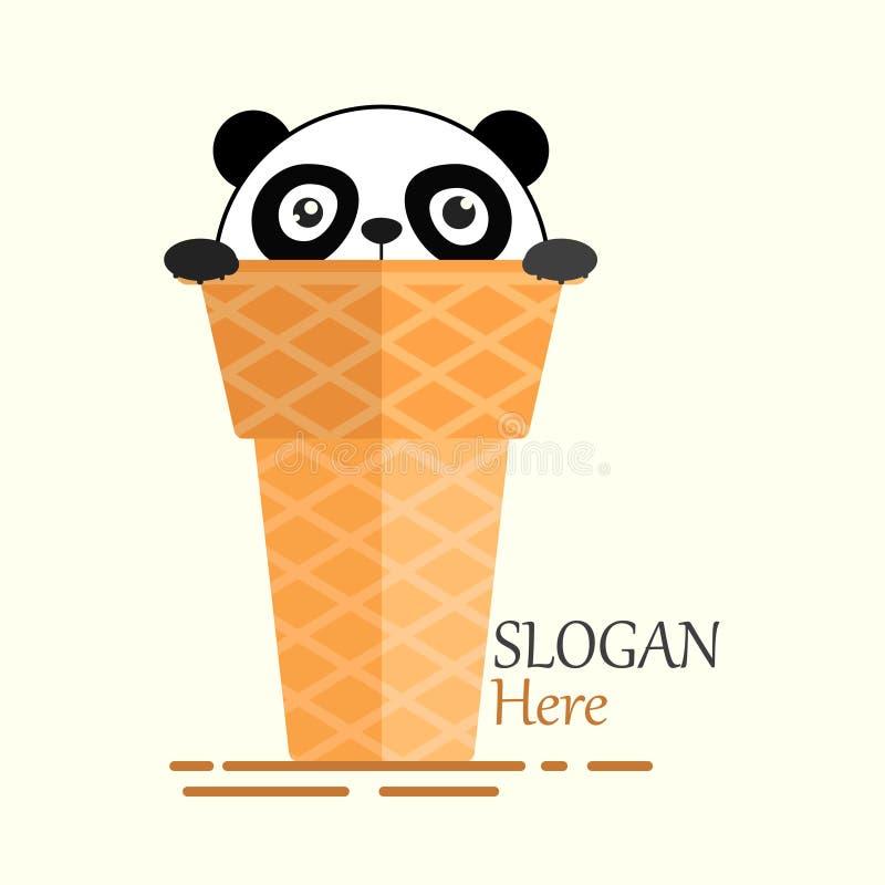 Gelado Logo Illustration do cone das pandas com cara chocado ilustração stock