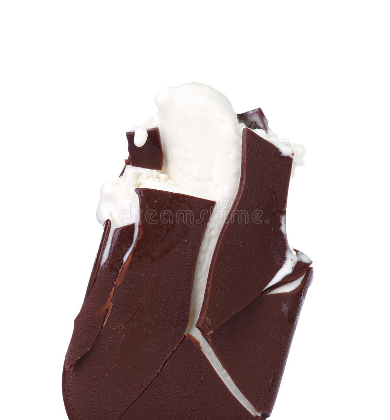 Gelado mordido de baunilha do chocolate. imagem de stock royalty free