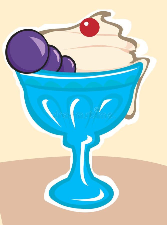 Gelado no copo azul ilustração royalty free