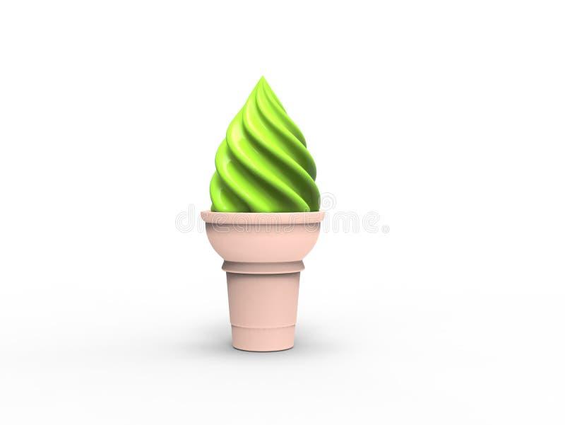 Gelado verde no cone pequeno ilustração royalty free