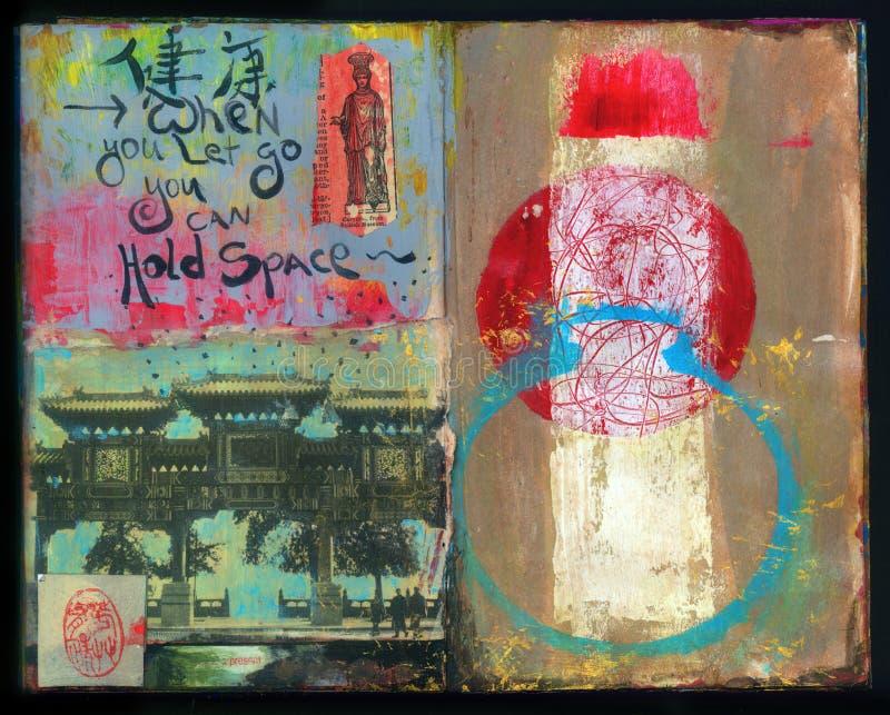 Gelassen gehen Klugheits-handgemachte Collage Art Journal verrückte stock abbildung