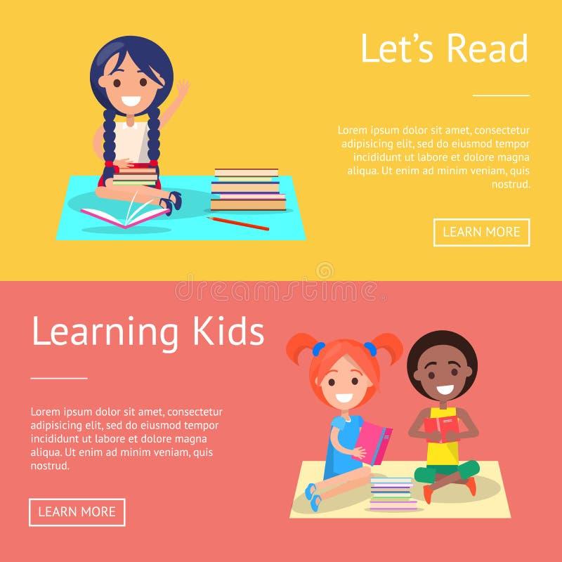 Gelassen gelesen, Kinderfahnen mit Schulkindern lernend lizenzfreie abbildung