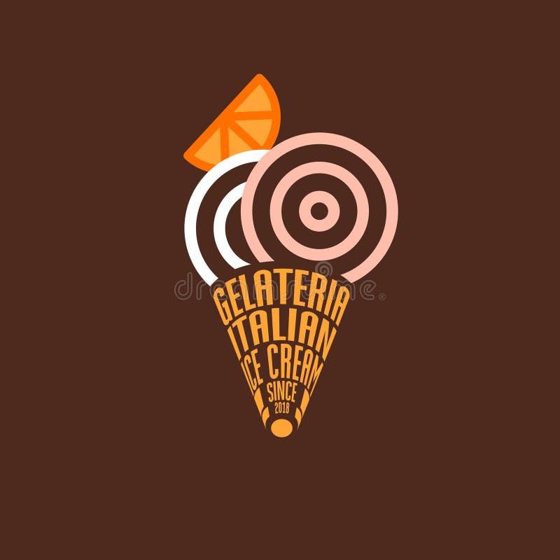 Gelateria logo W?oski lody emblemat Typografia skład jako gofra koloru i rożka miarki royalty ilustracja