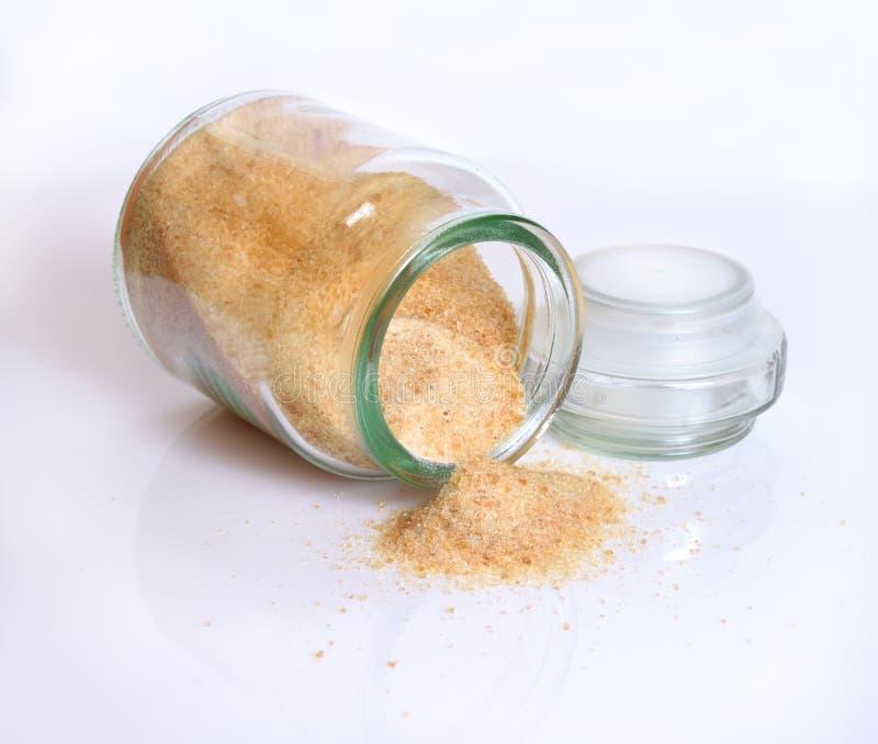 Gelatin or gelatine in the glass jar. On white background. Gelatin or gelatine in the glass jar. On white background stock photo