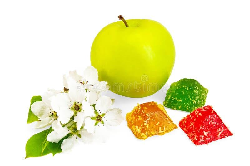 Gelatina colourful con la mela ed il colore fotografie stock libere da diritti