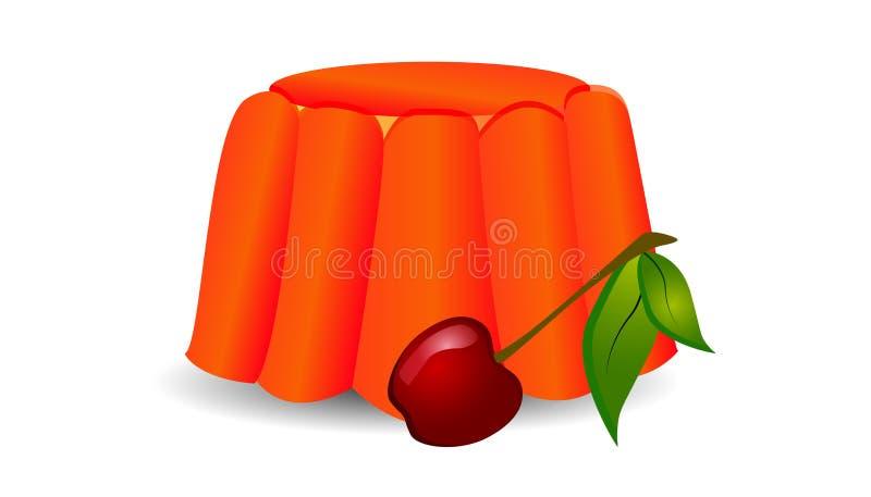 Gelatina della ciliegia con la ciliegia illustrazione di stock