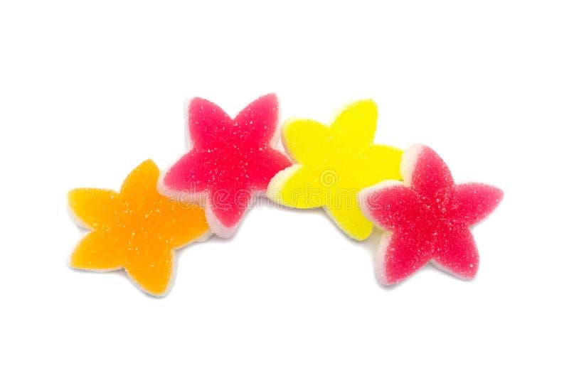 Gelatine bright jellies candy Colorful Star design, Sweets gummy sugassty tasty Zachte gommen, van bovenaf bekeken royalty-vrije stock afbeelding