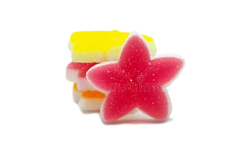 Gelatine bright jellies candy Colorful Star design, Sweets gummy sugassty tasty Zachte gommen, van bovenaf bekeken royalty-vrije stock foto's