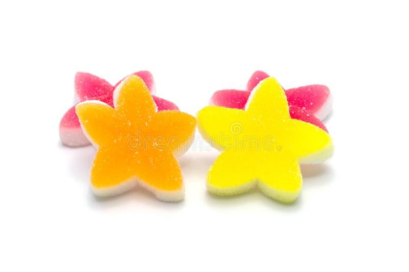 Gelatine bright jellies candy Colorful Star design, Sweets gummy sugassty tasty Zachte gommen, van bovenaf bekeken royalty-vrije stock foto