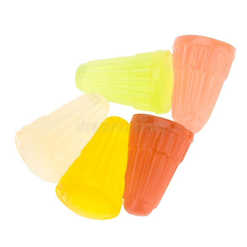 Gelatine. color red yellow green pink white. isolated on white b. Ackground stock image
