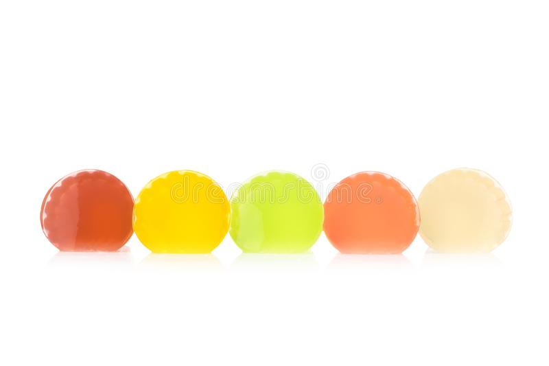 Gelatine. color red yellow green pink white. isolated on white b. Ackground stock photo