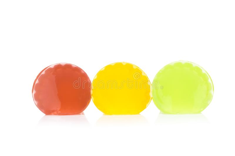 Gelatine. red yellow green. isolated on white background.  royalty free stock image