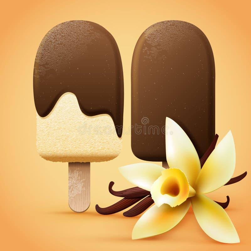 Gelato del cioccolato con sapore della vaniglia illustrazione di stock