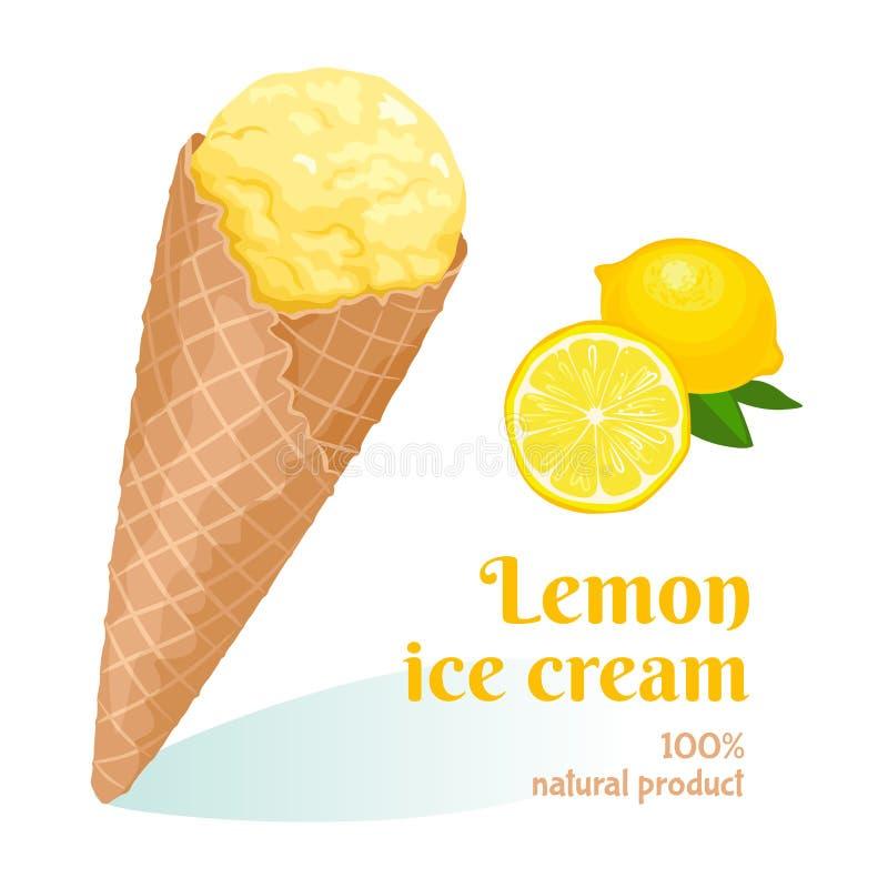 Gelato del limone del fumetto nel cono della cialda illustrazione di stock
