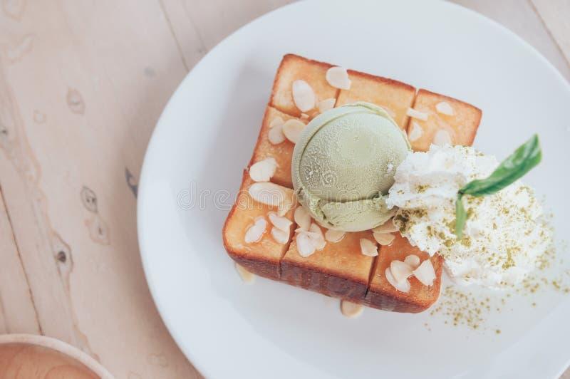 Gelato del tè di Honey Toast Matcha Green immagini stock