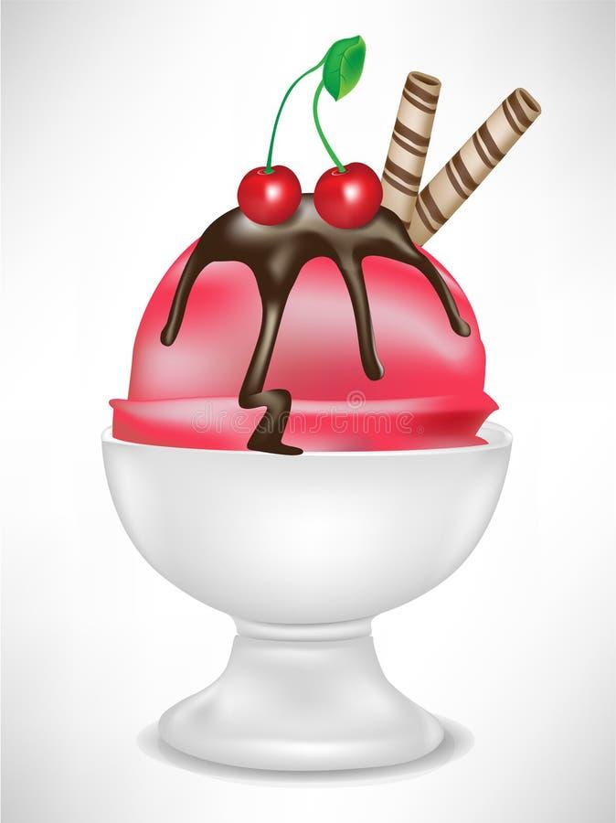 Gelato della ciliegia in ciotola illustrazione di stock