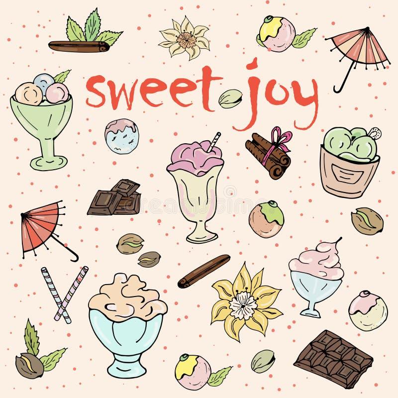 Gelato, dessert, cioccolato su fondo bianco illustrazione vettoriale