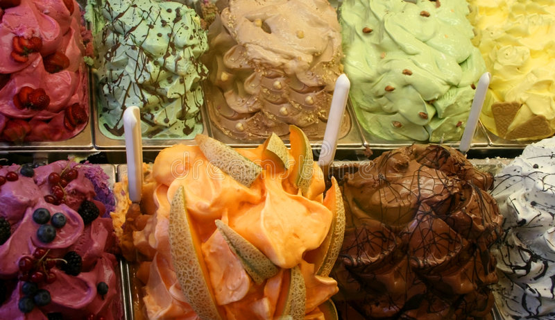 Gelato Display. A colorful display of gelato in Italy royalty free stock photography