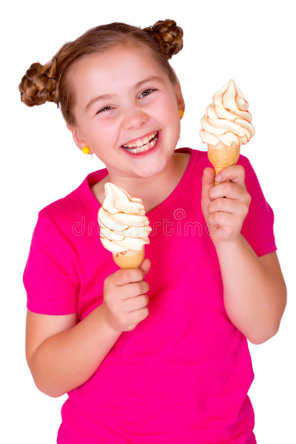 Gelato eaiting sorridente del bambino fotografie stock