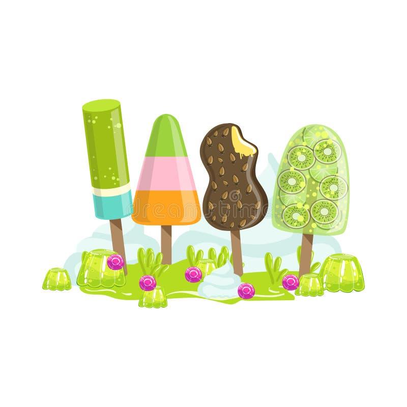 Gelato ed elemento dolce congelato del paesaggio della terra di Candy di fantasia degli alberi da frutto royalty illustrazione gratis