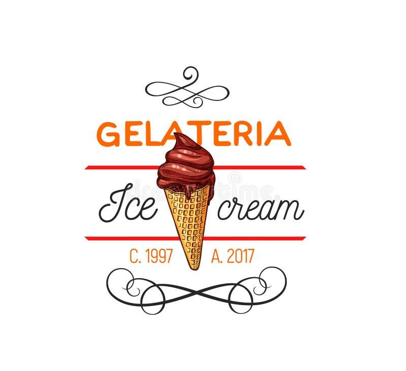 Gelato-Eiscreme-Vektoremblem lizenzfreie abbildung