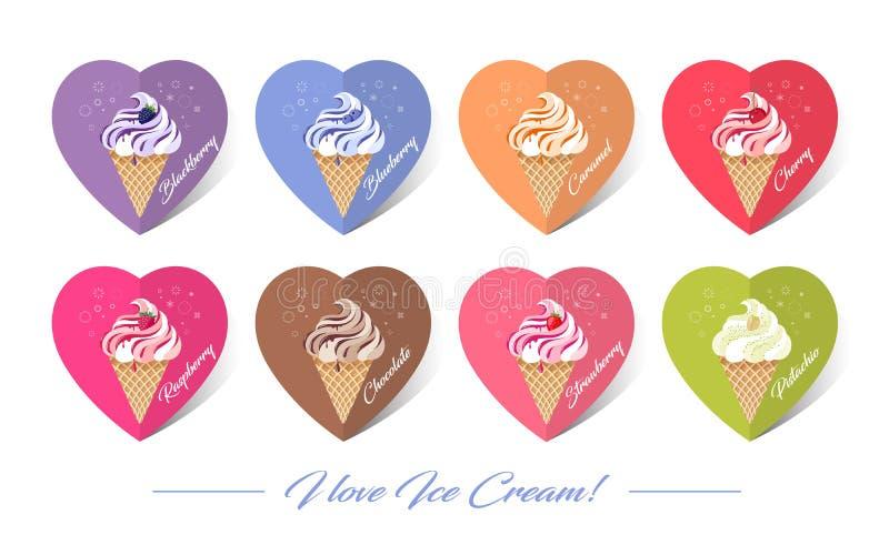 Gelato le illustrazioni Gelato nei coni della cialda Differente gelato con le guarnizioni e le bacche illustrazione di stock