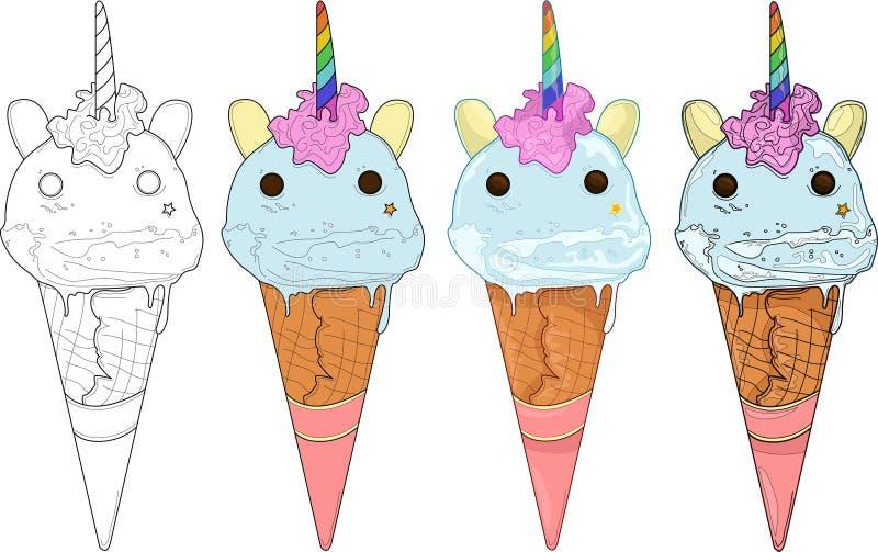 Gelato sveglio dell'unicorno dell'arcobaleno Illustrazione di vettore illustrazione di stock