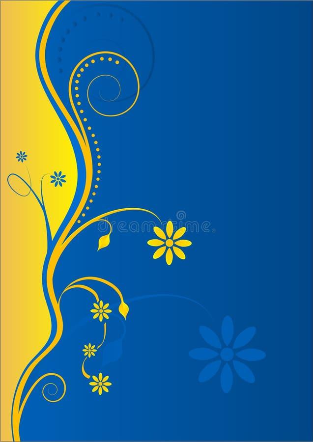 Gelb-Blauer mit Blumenhintergrund stock abbildung