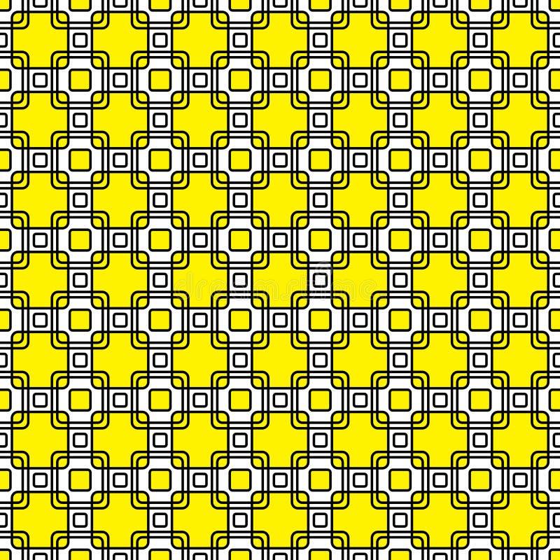 Gelb, dekoratives Quadratwiederholungsschwarzweiss-muster lizenzfreie stockfotos