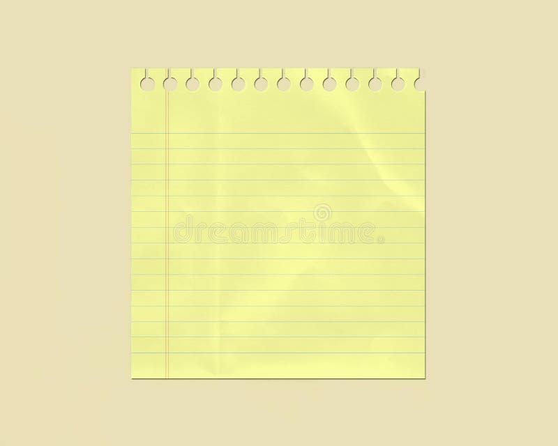 Gelb knitterte gezeichnetes Anmerkungs-Papier lizenzfreie abbildung