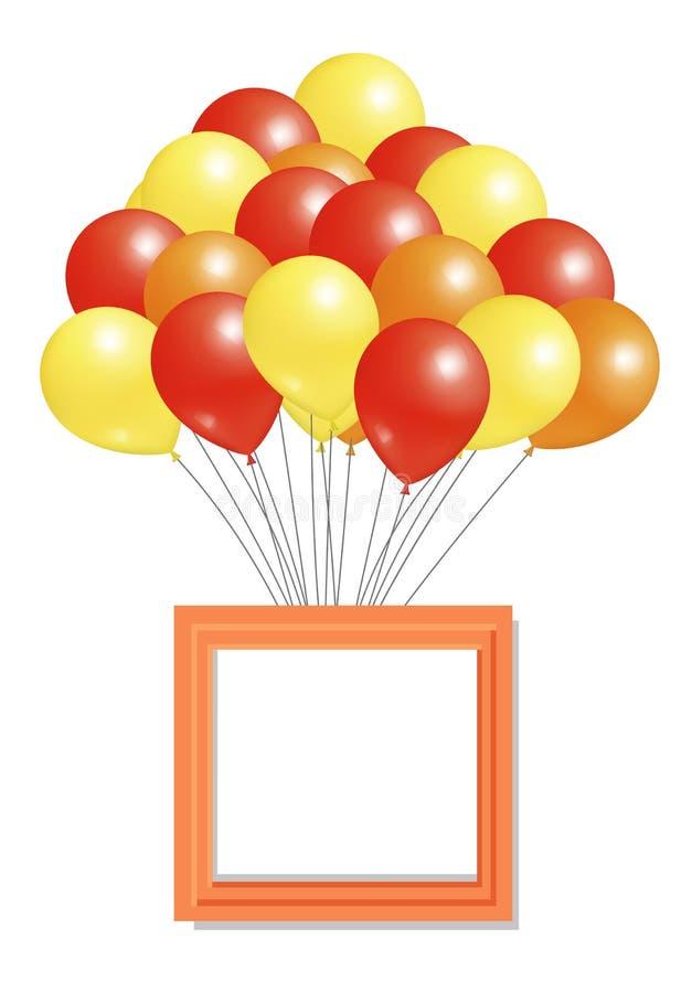Gelb-orangees Rot steigt großen Bündel-Quadrat-Rahmen im Ballon auf stock abbildung