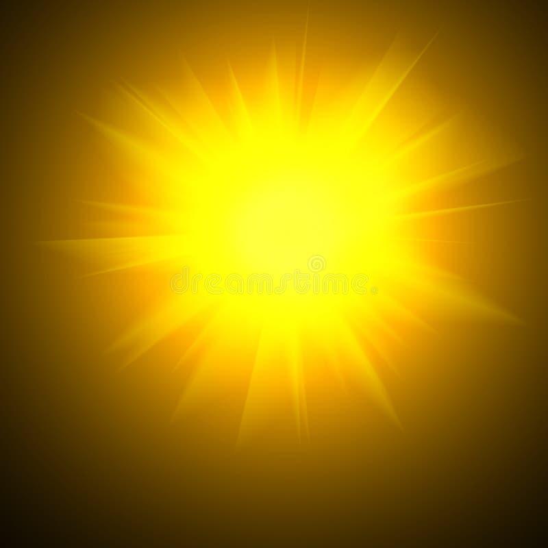 Gelb-orangees unscharfes Glühen grell auf schwarzem Hintergrund Sun tageslicht Abstrakte Illustration des Sonnendurchbruchs mit g lizenzfreie abbildung
