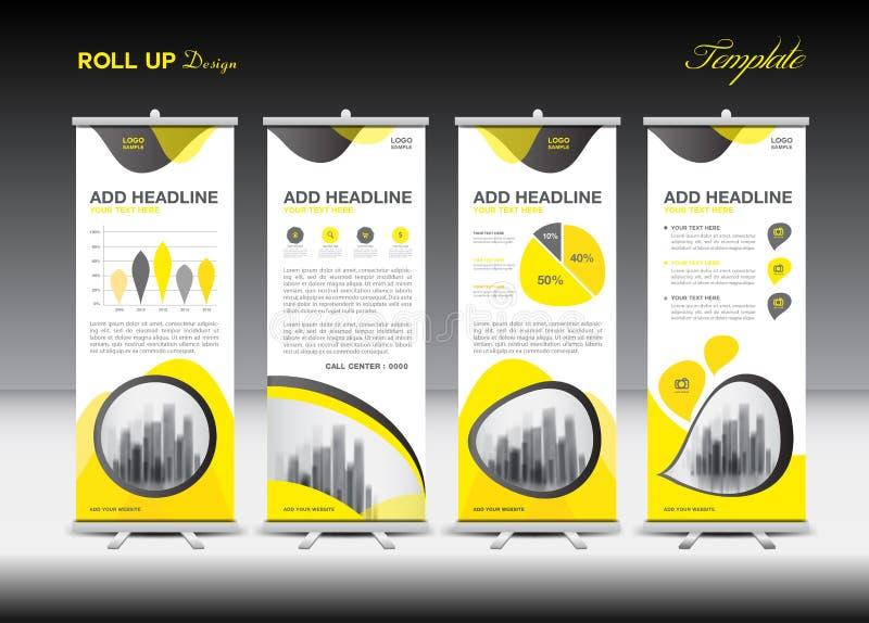 Gelb rollen Sie oben Fahnenschablone und infographics, Standdesign stock abbildung