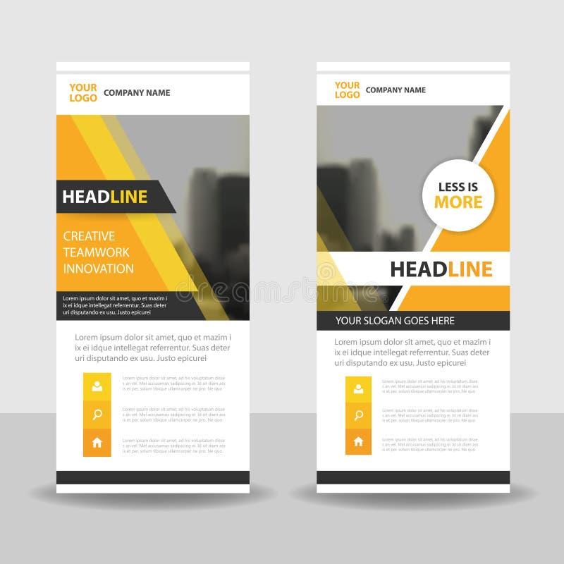 Gelb rollen Sie oben Geschäftsbroschürenflieger-Fahnendesign, Abdeckung vor lizenzfreie abbildung