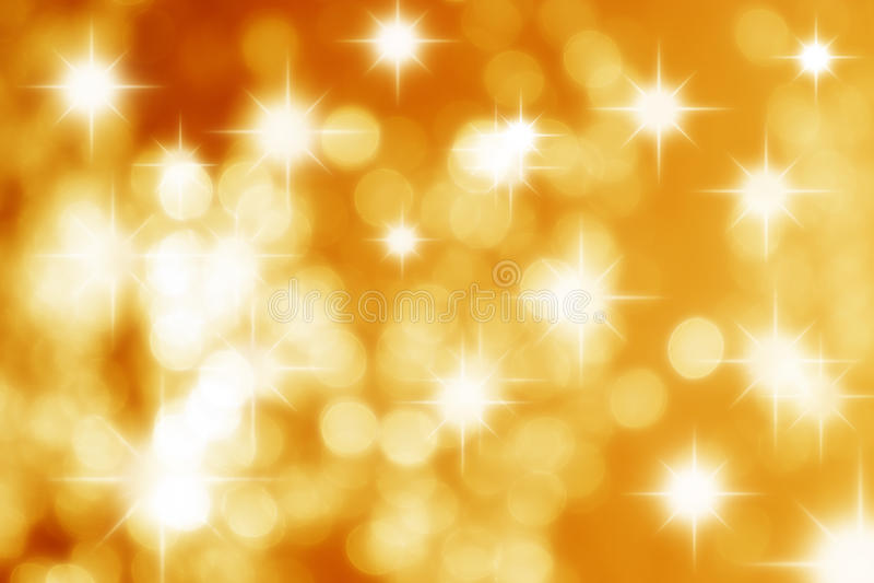 Gelb Stars Bokeh Hintergrund stockfotos