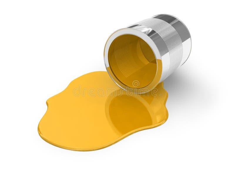 Gelb verschütteter Lack stock abbildung